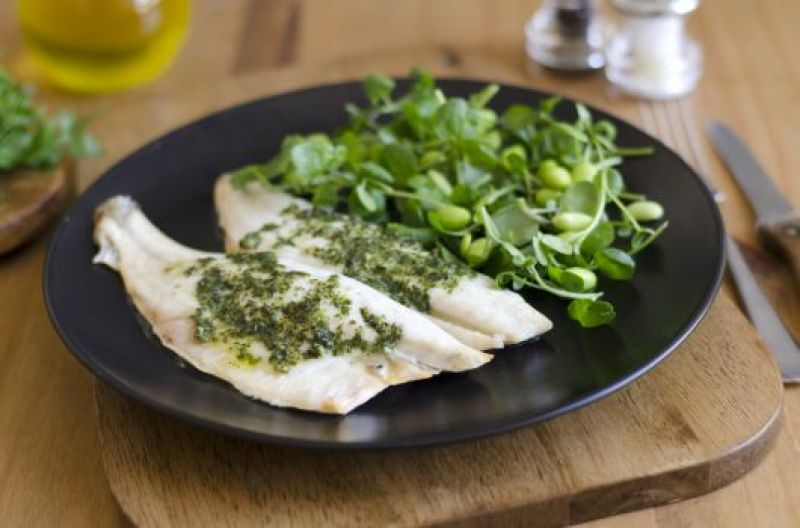 Air-Fried Fish Steak with Pesto Sauce