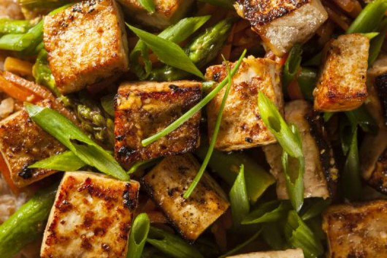 Roasted Tofu Leek and Asparagus