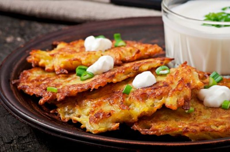 Shrimp and Potato Fritters with Herbed Yogurt Dip