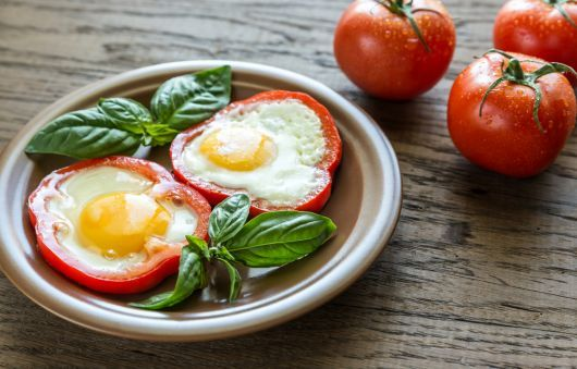 Air-Fried Eggs in Red Bell Pepper Cups