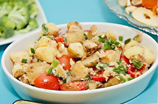 Air-Fried Potatoes and Cherry Tomatoes with Feta