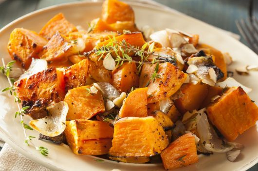 Air-Fried Sweet Potato with Onion and Garlic