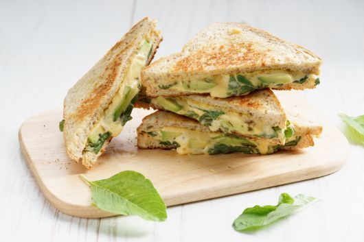Grilled Avocado Spinach and Cheese Sandwich