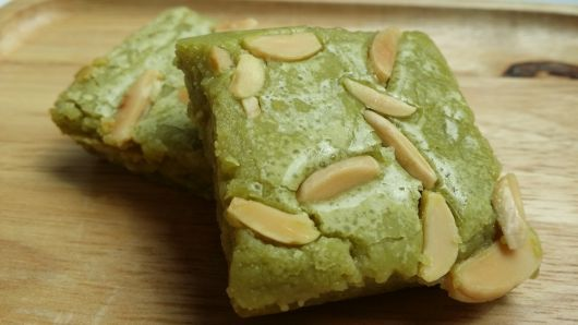 Matcha Brownies with Almonds