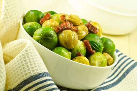 Roasted Brussels Sprouts with Turkey Strips
