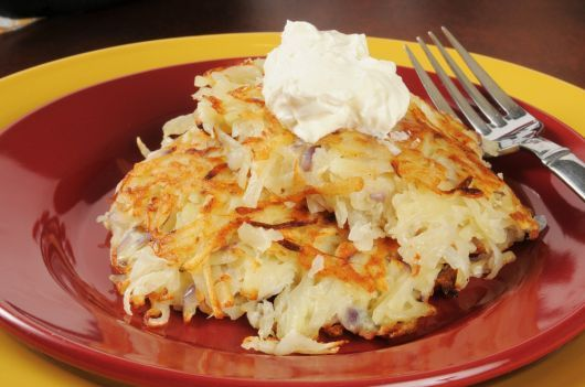 Shredded Potato Fritters with Sour Cream