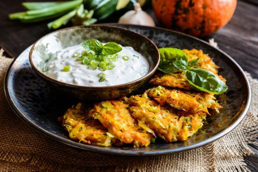 Zucchini and Carrot Fritters with Sour Cream and Chives Dip
